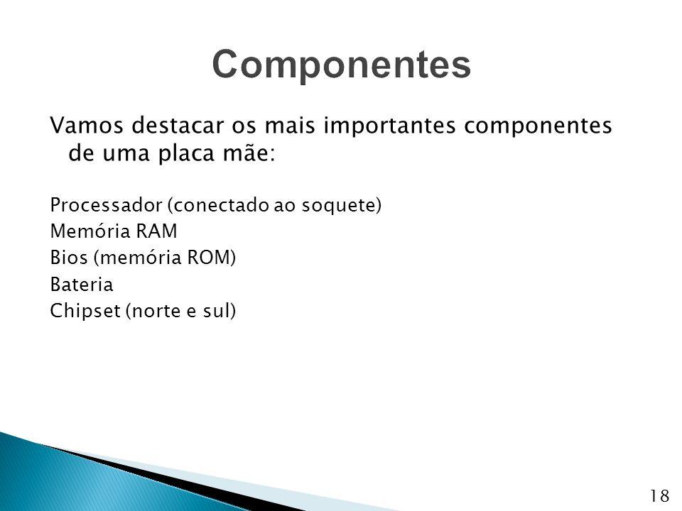 Vamos destacar os mais importantes componentes de uma placa mãe: Processador (conectado ao soquete) Memória RAM Bios (memória ROM) Bateria Chipset (no