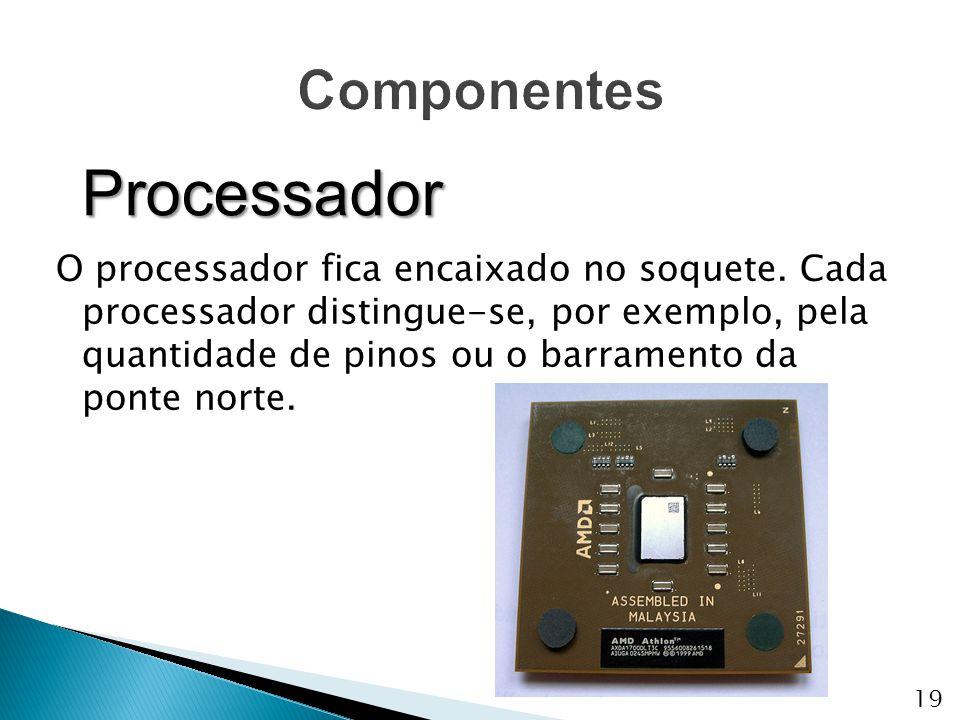 O processador fica encaixado no soquete. Cada processador distingue-se, por exemplo, pela quantidade de pinos ou o barramento da ponte norte. Processa