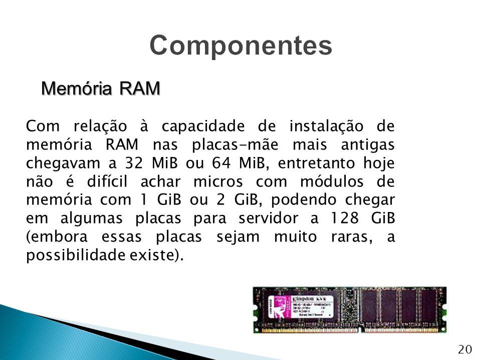 Memória RAM Com relação à capacidade de instalação de memória RAM nas placas-mãe mais antigas chegavam a 32 MiB ou 64 MiB, entretanto hoje não é difíc