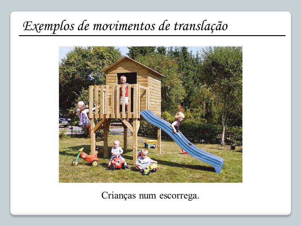 Exemplos de movimentos de translação Crianças num escorrega.