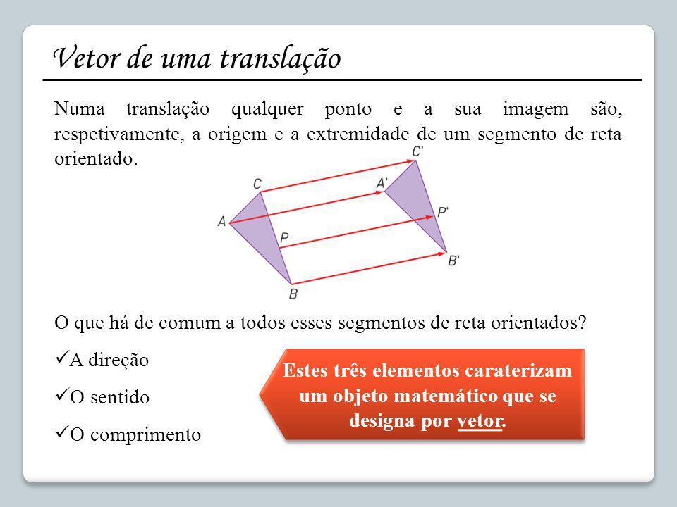 Vetor de uma translação Numa translação qualquer ponto e a sua imagem são, respetivamente, a origem e a extremidade de um segmento de reta orientado.