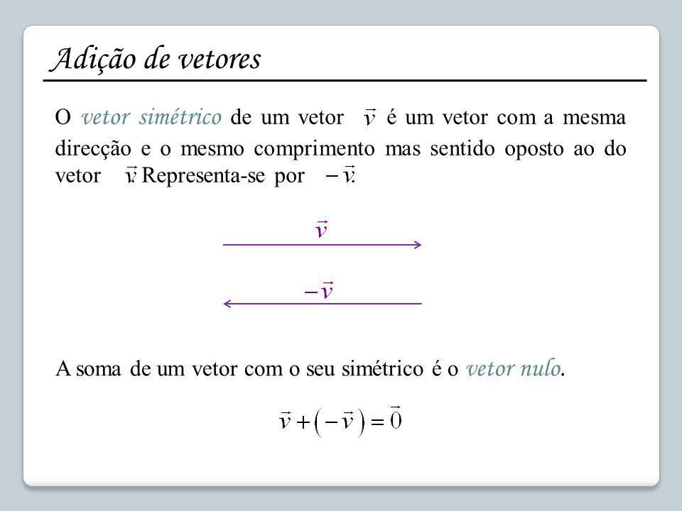 Adição de vetores O vetor simétrico de um vetor é um vetor com a mesma direcção e o mesmo comprimento mas sentido oposto ao do vetor. Representa-se po