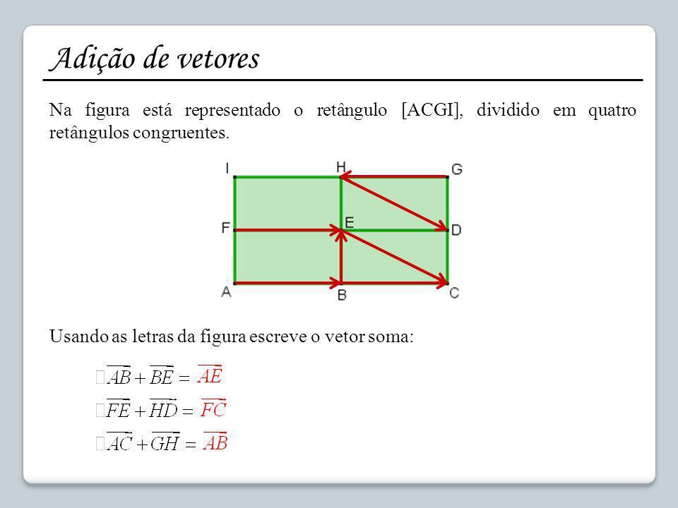 Adição de vetores Na figura está representado o retângulo [ACGI], dividido em quatro retângulos congruentes. Usando as letras da figura escreve o veto