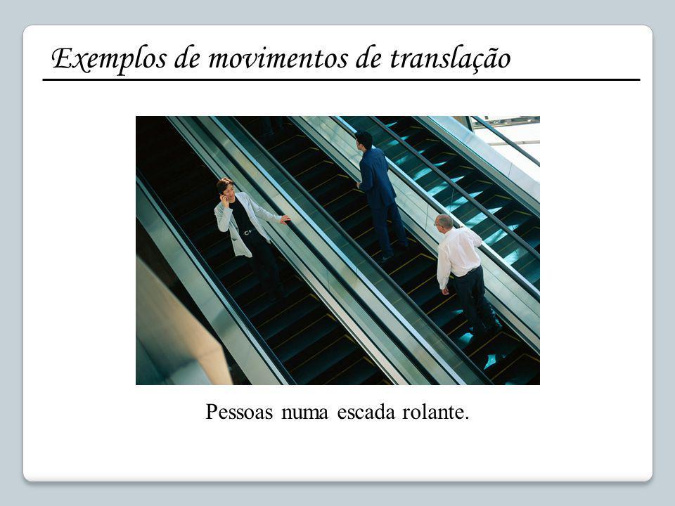 Exemplos de movimentos de translação Pessoas numa escada rolante.