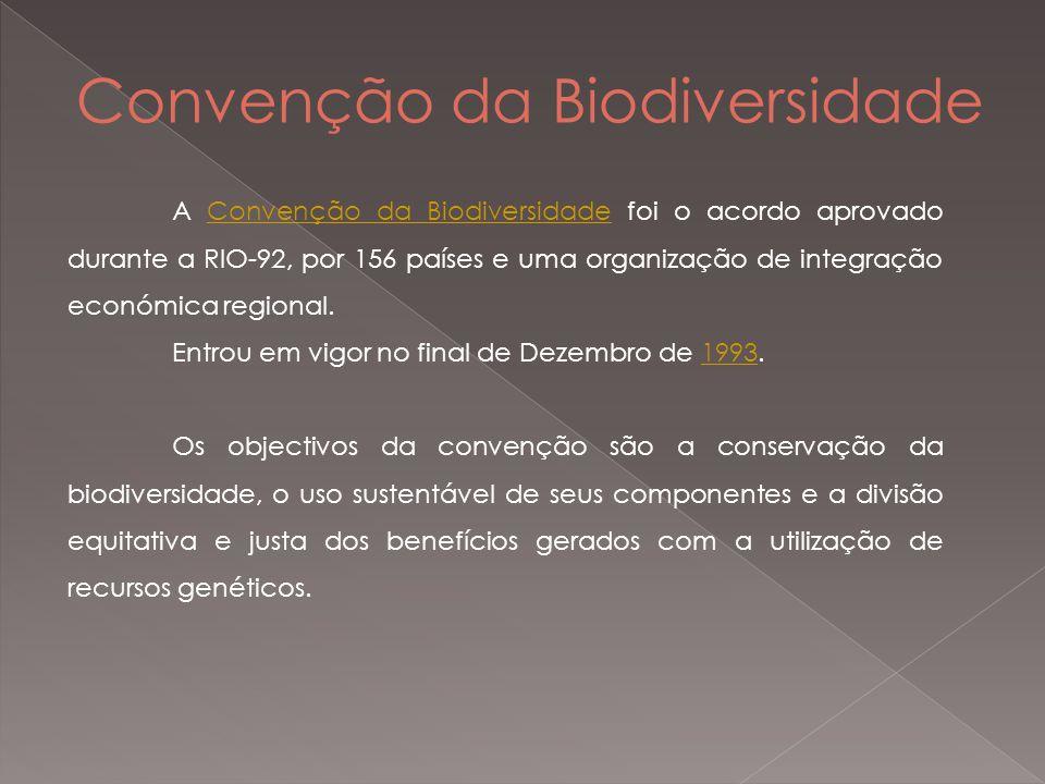 Convenção da Biodiversidade A Convenção da Biodiversidade foi o acordo aprovado durante a RIO-92, por 156 países e uma organização de integração económica regional.Convenção da Biodiversidade Entrou em vigor no final de Dezembro de 1993.1993 Os objectivos da convenção são a conservação da biodiversidade, o uso sustentável de seus componentes e a divisão equitativa e justa dos benefícios gerados com a utilização de recursos genéticos.
