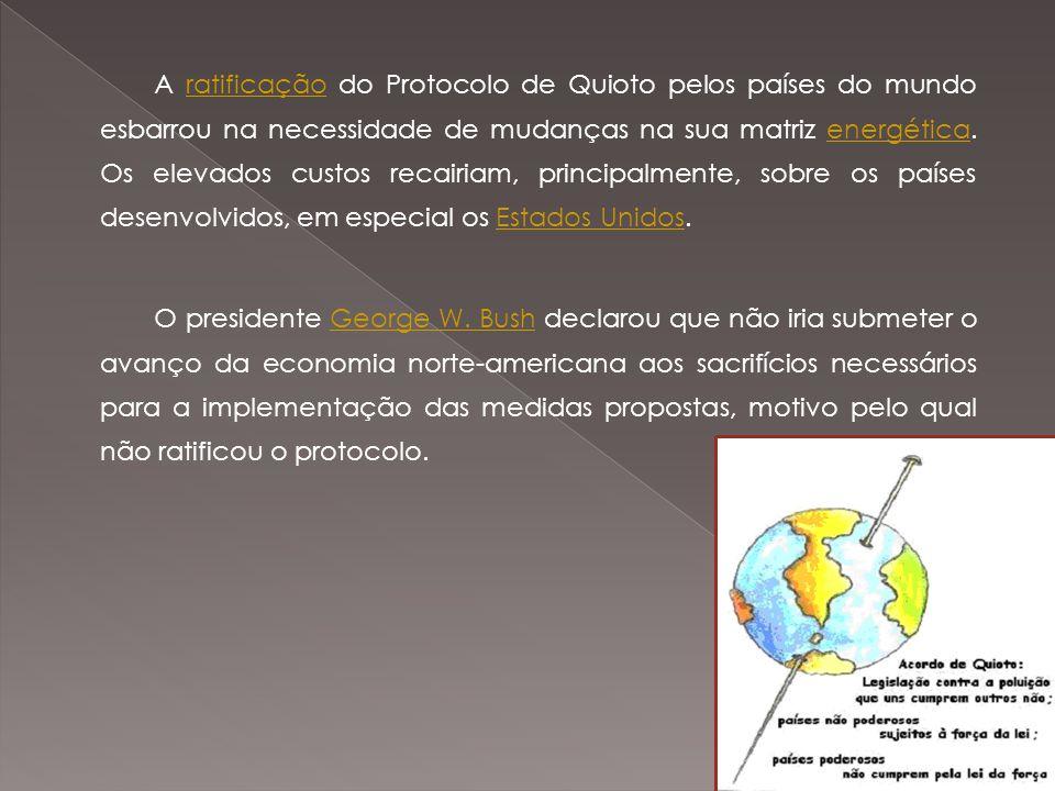 A ratificação do Protocolo de Quioto pelos países do mundo esbarrou na necessidade de mudanças na sua matriz energética.