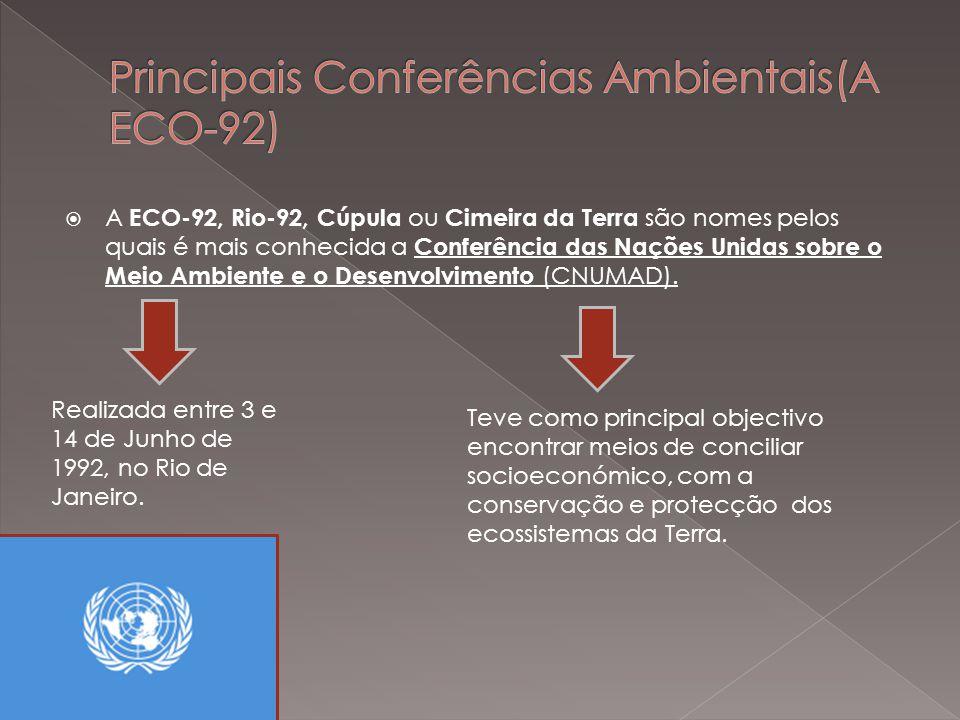 A Convenção das Nações Unidas sobre a Mudança do Clima, estabelecida a partir da Eco-92 e da Agenda-21, foi ratificada pela maioria dos países, mas o mesmo não aconteceu com o Protocolo de Quioto.Convenção das Nações Unidas sobre a Mudança do ClimaAgenda-21Protocolo de Quioto Essa diferença se deve ao fato de a convenção apresentar apenas propostas, sem estabelecer prazos, nem limites para a emissão de poluentes.