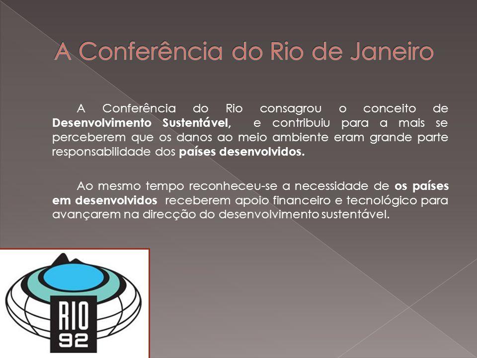 A Conferência do Rio consagrou o conceito de Desenvolvimento Sustentável, e contribuiu para a mais se perceberem que os danos ao meio ambiente eram grande parte responsabilidade dos países desenvolvidos.