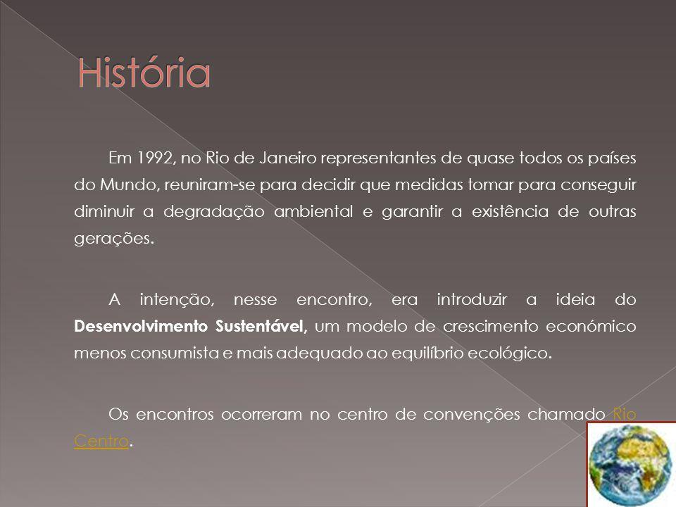 Em 1992, no Rio de Janeiro representantes de quase todos os países do Mundo, reuniram-se para decidir que medidas tomar para conseguir diminuir a degradação ambiental e garantir a existência de outras gerações.