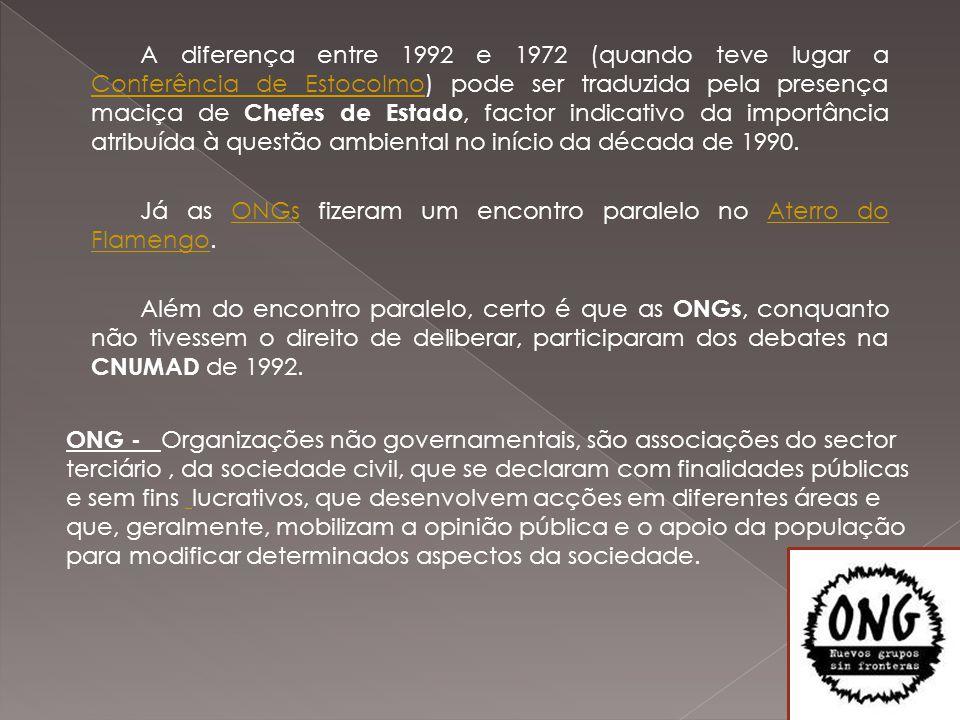 A diferença entre 1992 e 1972 (quando teve lugar a Conferência de Estocolmo) pode ser traduzida pela presença maciça de Chefes de Estado, factor indicativo da importância atribuída à questão ambiental no início da década de 1990.