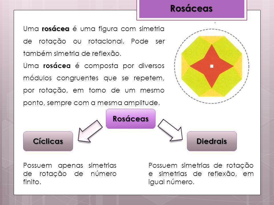 Rosáceas Rosáceas rosácea Uma rosácea é uma figura com simetria de rotação ou rotacional. Pode ser também simetria de reflexão. Uma rosácea é composta
