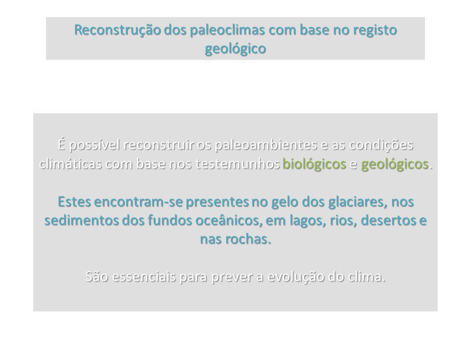 Reconstrução dos paleoclimas com base no registo geológico É possível reconstruir os paleoambientes e as condições climáticas com base nos testemunhos