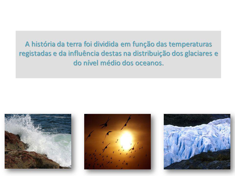 A história da terra foi dividida em função das temperaturas registadas e da influência destas na distribuição dos glaciares e do nível médio dos ocean