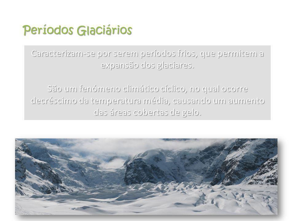 Períodos Glaciários Caracterizam-se por serem períodos frios, que permitem a expansão dos glaciares. São um fenómeno climático cíclico, no qual ocorre