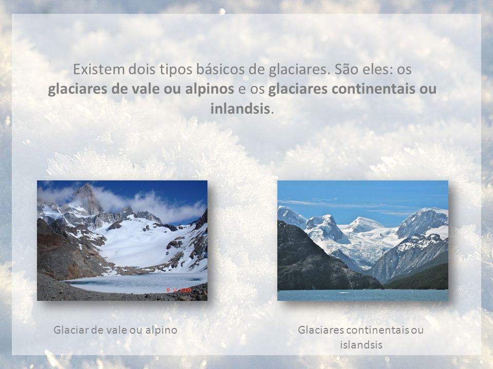 Existem dois tipos básicos de glaciares. São eles: os glaciares de vale ou alpinos e os glaciares continentais ou inlandsis. Glaciar de vale ou alpino