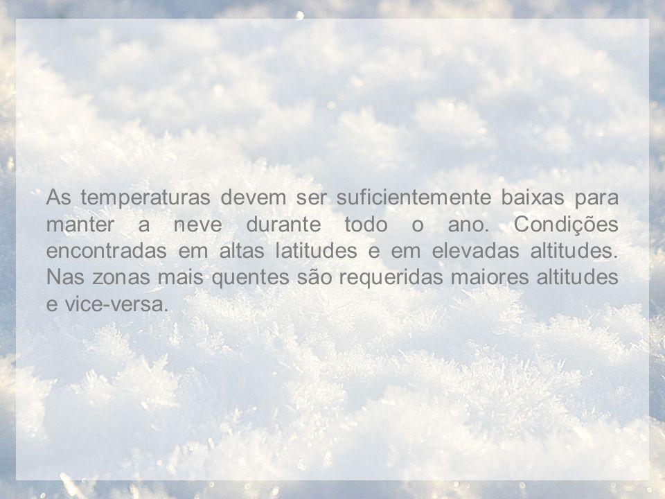 As temperaturas devem ser suficientemente baixas para manter a neve durante todo o ano. Condições encontradas em altas latitudes e em elevadas altitud