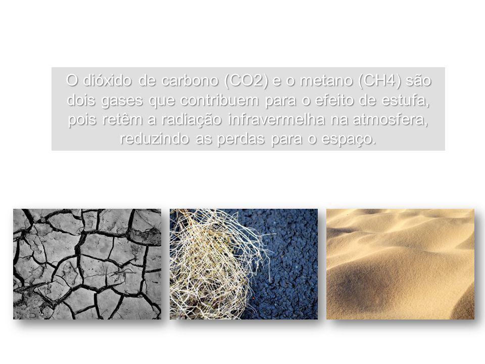 O dióxido de carbono (CO2) e o metano (CH4) são dois gases que contribuem para o efeito de estufa, pois retêm a radiação infravermelha na atmosfera, r