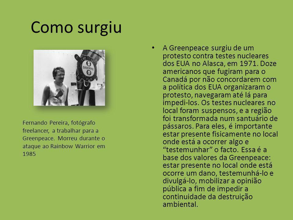 Como surgiu A Greenpeace surgiu de um protesto contra testes nucleares dos EUA no Alasca, em 1971. Doze americanos que fugiram para o Canadá por não c