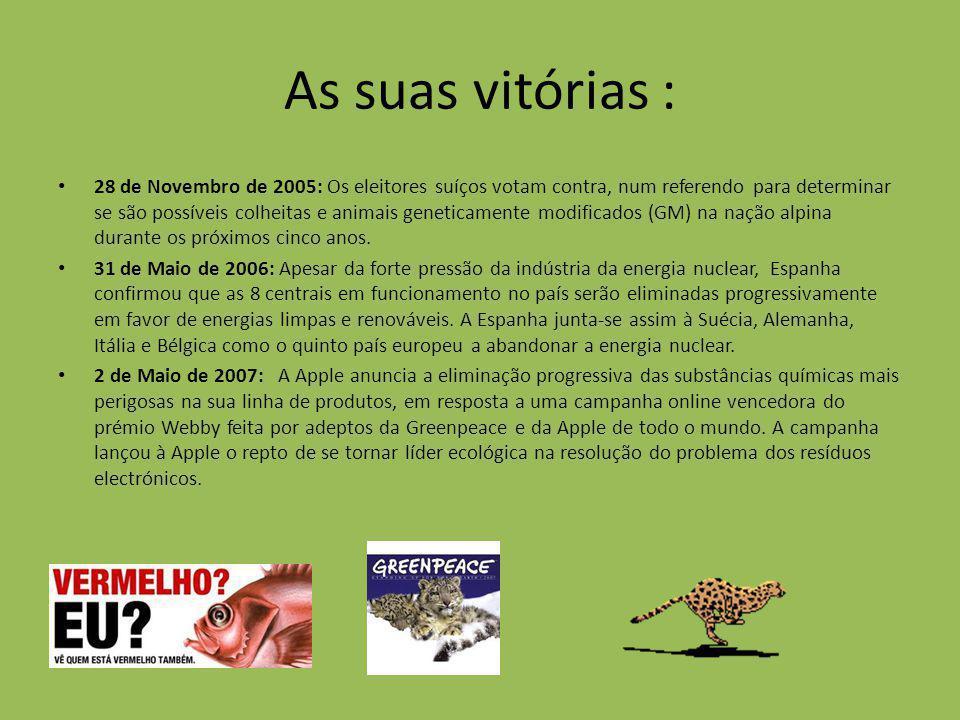 As suas vitórias : 28 de Novembro de 2005: Os eleitores suíços votam contra, num referendo para determinar se são possíveis colheitas e animais geneti