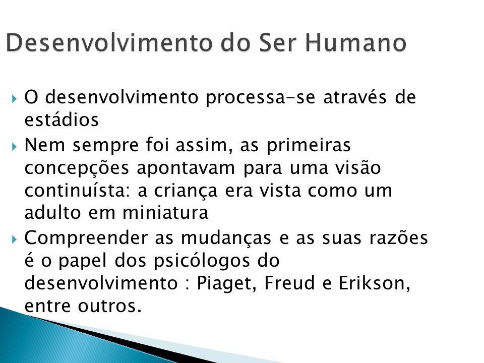 Desenvolvimento do Ser Humano O desenvolvimento processa-se através de estádios Nem sempre foi assim, as primeiras concepções apontavam para uma visão continuísta: a criança era vista como um adulto em miniatura Compreender as mudanças e as suas razões é o papel dos psicólogos do desenvolvimento : Piaget, Freud e Erikson, entre outros.