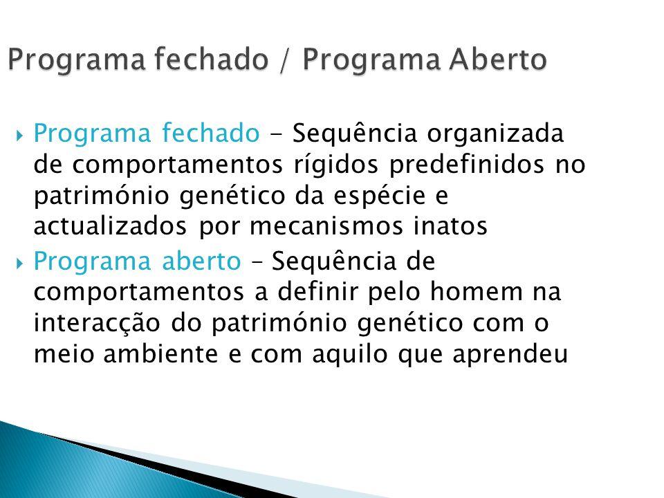 Programa fechado / Programa Aberto Programa fechado - Sequência organizada de comportamentos rígidos predefinidos no património genético da espécie e