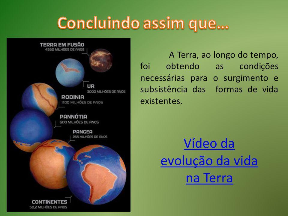 A Terra, ao longo do tempo, foi obtendo as condições necessárias para o surgimento e subsistência das formas de vida existentes. Vídeo da evolução da