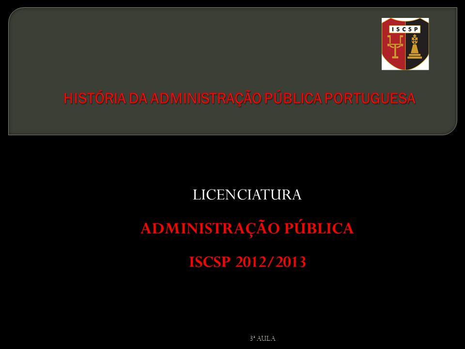 LICENCIATURA ADMINISTRAÇÃO PÚBLICA ISCSP 2012/2013 3ª AULA