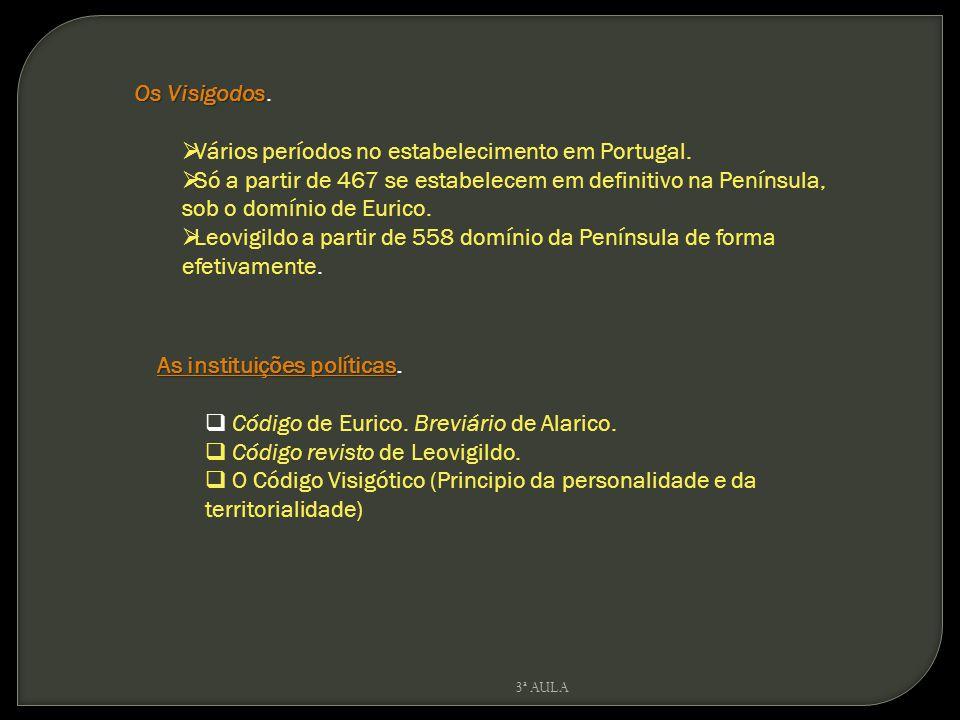 Os Visigodos Os Visigodos. Vários períodos no estabelecimento em Portugal. Só a partir de 467 se estabelecem em definitivo na Península, sob o domínio