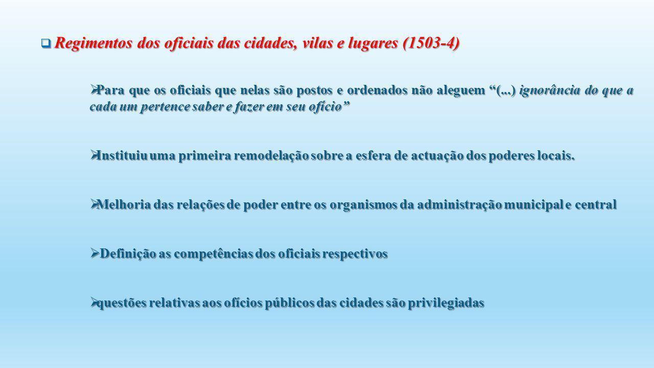 Regimentos dos oficiais das cidades, vilas e lugares (1503-4) Regimentos dos oficiais das cidades, vilas e lugares (1503-4) Para que os oficiais que n