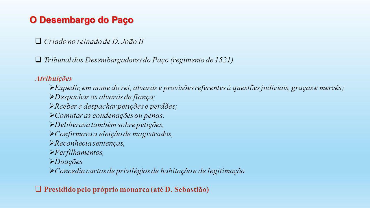 Criado no reinado de D. João II Tribunal dos Desembargadores do Paço (regimento de 1521) Atribuições Expedir, em nome do rei, alvarás e provisões refe