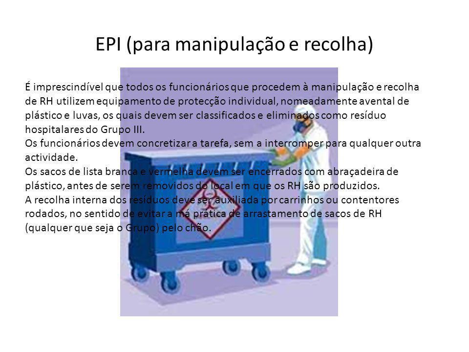 EPI (para manipulação e recolha) É imprescindível que todos os funcionários que procedem à manipulação e recolha de RH utilizem equipamento de protecção individual, nomeadamente avental de plástico e luvas, os quais devem ser classificados e eliminados como resíduo hospitalares do Grupo III.