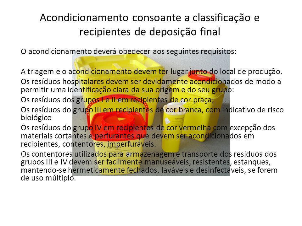 O acondicionamento deverá obedecer aos seguintes requisitos: A triagem e o acondicionamento devem ter lugar junto do local de produção. Os resíduos ho