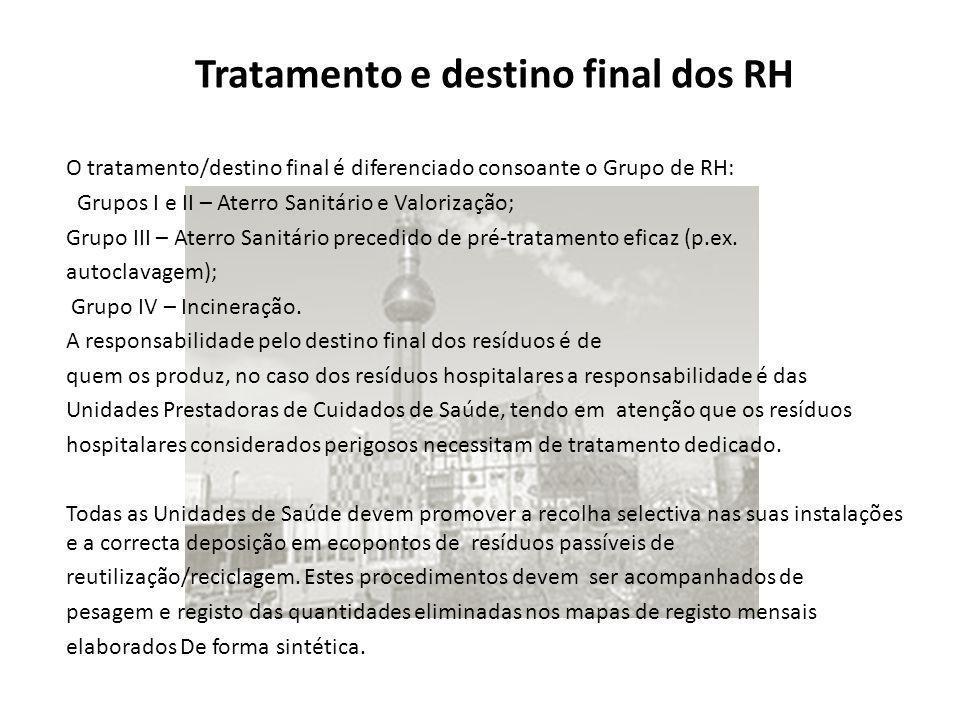 O tratamento/destino final é diferenciado consoante o Grupo de RH: Grupos I e II – Aterro Sanitário e Valorização; Grupo III – Aterro Sanitário preced