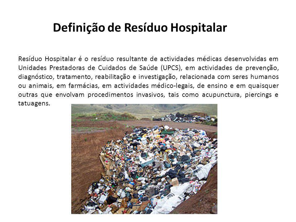 Resíduo Hospitalar é o resíduo resultante de actividades médicas desenvolvidas em Unidades Prestadoras de Cuidados de Saúde (UPCS), em actividades de