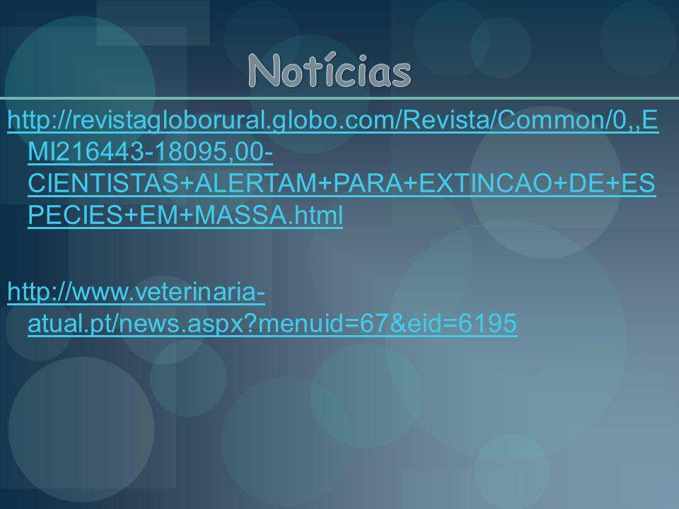http://revistagloborural.globo.com/Revista/Common/0,,E MI216443-18095,00- CIENTISTAS+ALERTAM+PARA+EXTINCAO+DE+ES PECIES+EM+MASSA.html http://www.veter