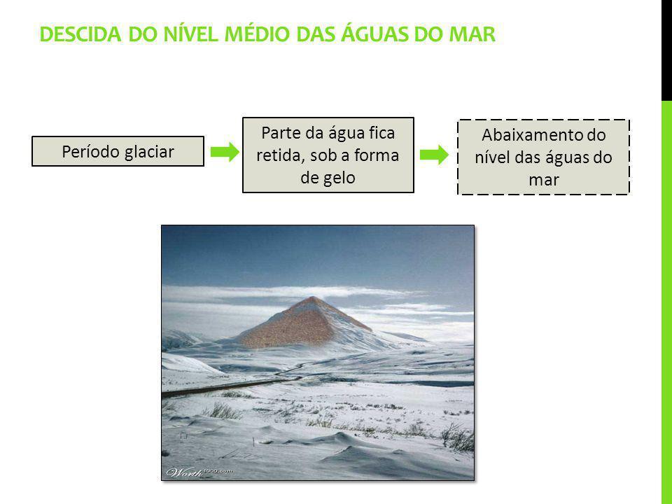 DESCIDA DO NÍVEL MÉDIO DAS ÁGUAS DO MAR Período glaciar Parte da água fica retida, sob a forma de gelo Abaixamento do nível das águas do mar