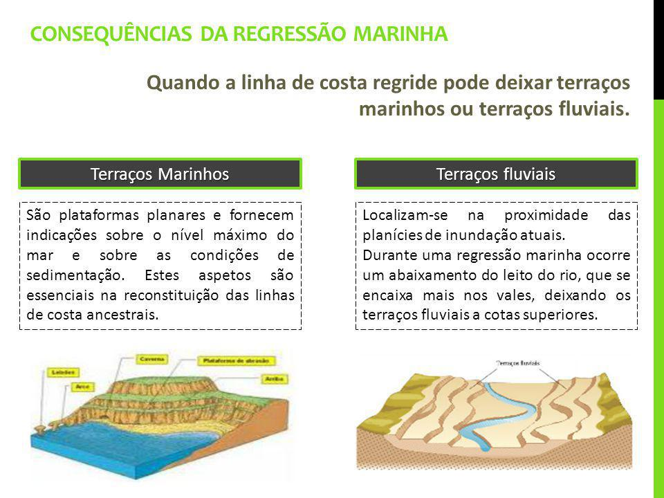 CONSEQUÊNCIAS DA REGRESSÃO MARINHA Quando a linha de costa regride pode deixar terraços marinhos ou terraços fluviais. São plataformas planares e forn
