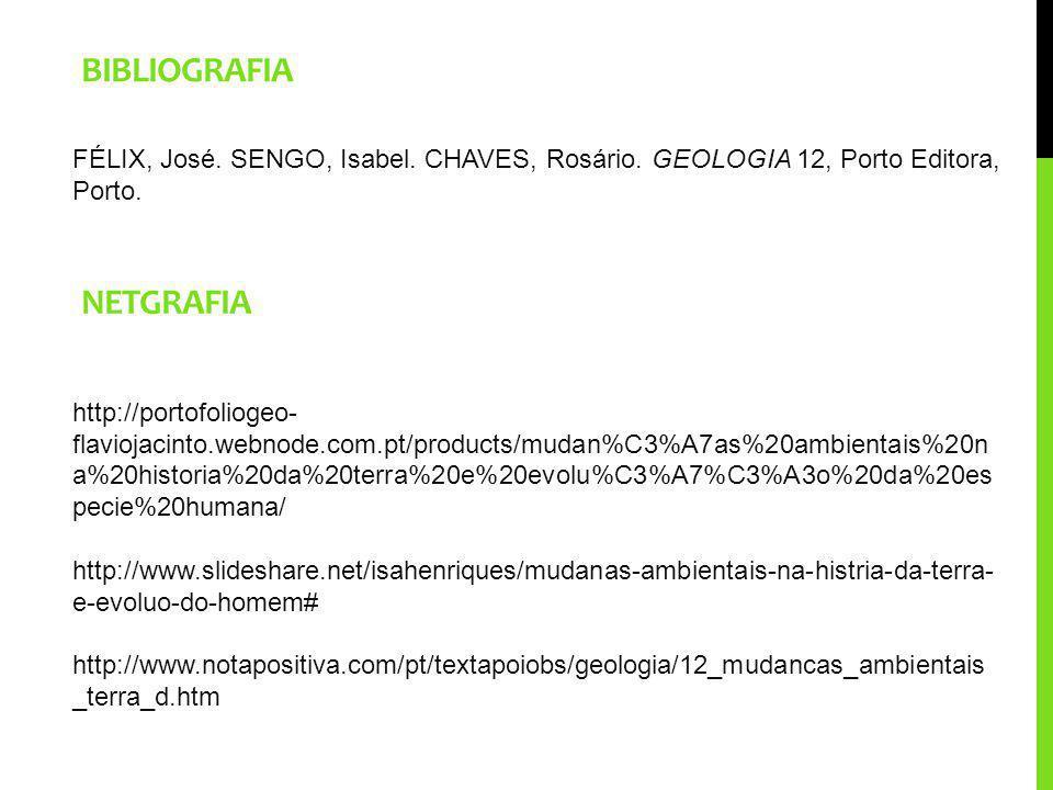 BIBLIOGRAFIA FÉLIX, José. SENGO, Isabel. CHAVES, Rosário. GEOLOGIA 12, Porto Editora, Porto. http://portofoliogeo- flaviojacinto.webnode.com.pt/produc