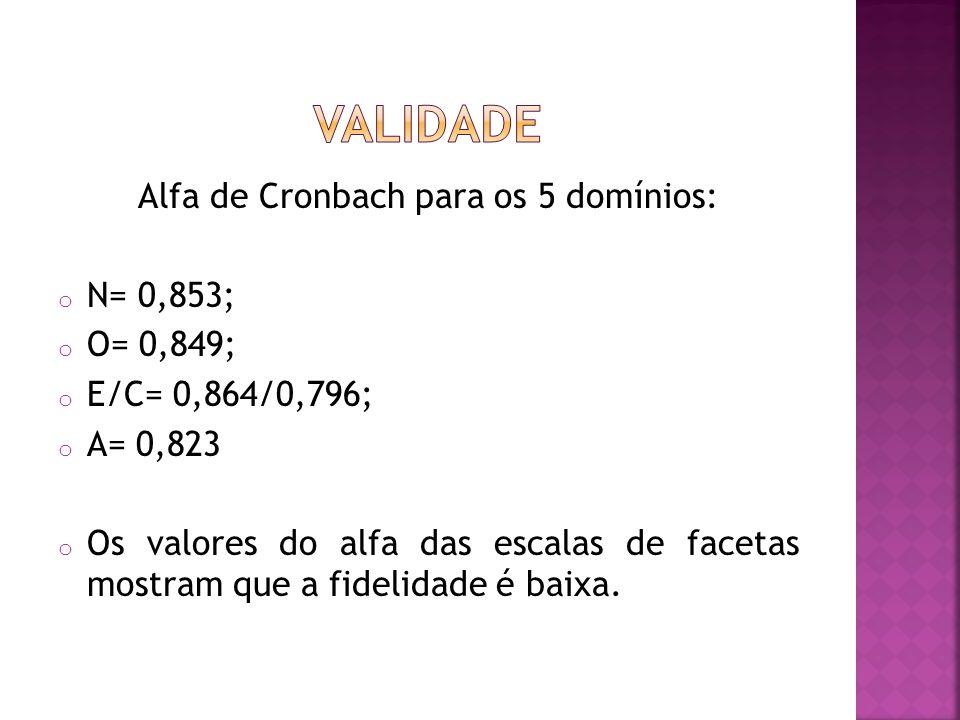 Alfa de Cronbach para os 5 domínios: o N= 0,853; o O= 0,849; o E/C= 0,864/0,796; o A= 0,823 o Os valores do alfa das escalas de facetas mostram que a