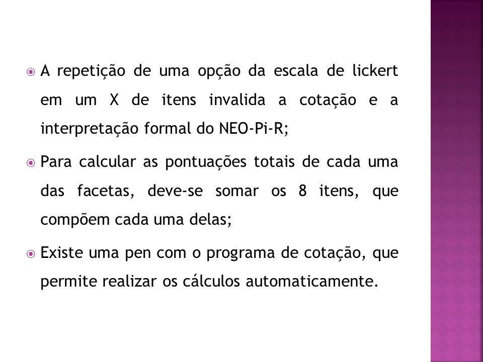 A repetição de uma opção da escala de lickert em um X de itens invalida a cotação e a interpretação formal do NEO-Pi-R; Para calcular as pontuações to