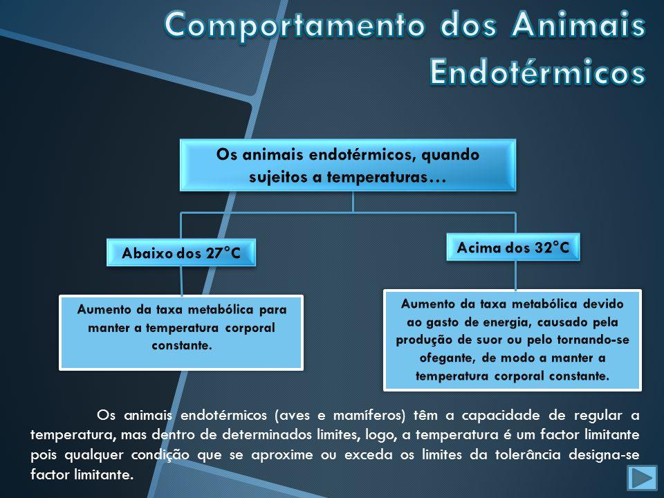 Os animais endotérmicos (aves e mamíferos) têm a capacidade de regular a temperatura, mas dentro de determinados limites, logo, a temperatura é um fac