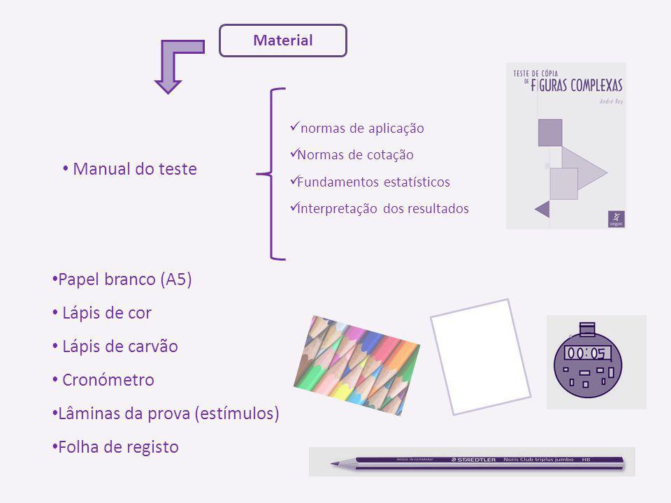 Material Manual do teste normas de aplicação Normas de cotação Fundamentos estatísticos Interpretação dos resultados Papel branco (A5) Lápis de cor Lá