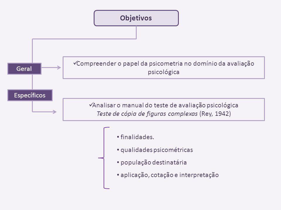 Teste desenvolvido por André Rey (1942) Osterrieth (1945) Elaborou estudos comparativos entre a prova e o desenvolvimento genético Cópia e reprodução de memória de um desenho geométrico estruturado de forma complexa Diagnóstico diferencial entre deficiência mental e défice adquirido por lesão cerebral