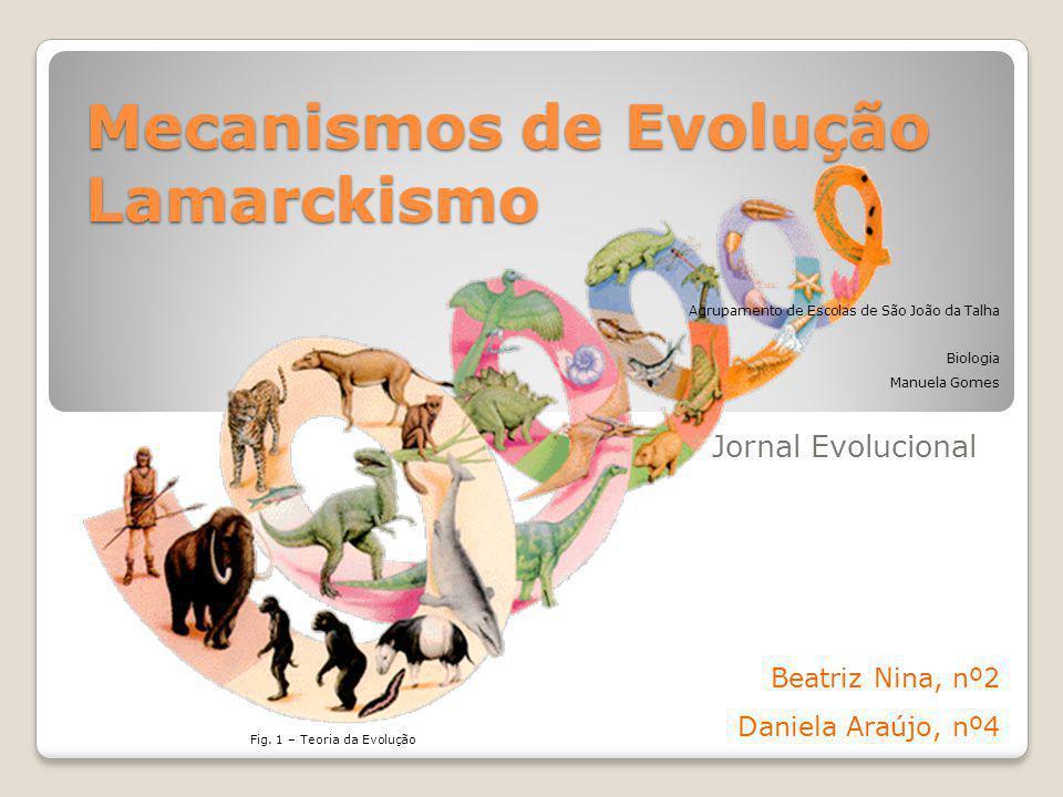 Mecanismos de Evolução Lamarckismo Jornal Evolucional Beatriz Nina, nº2 Daniela Araújo, nº4 Fig.