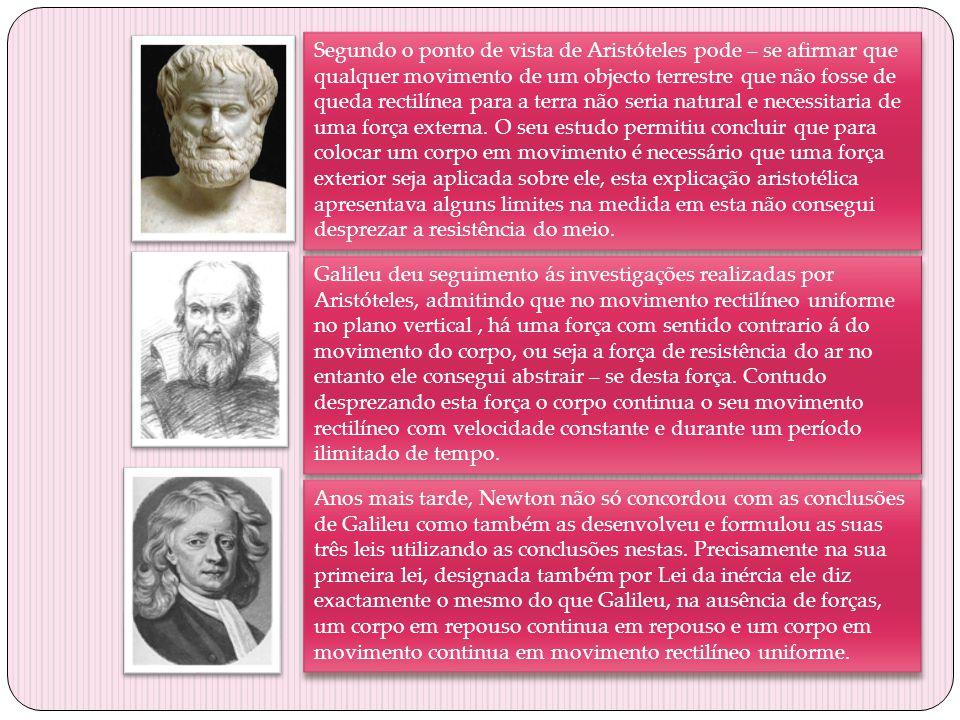 Segundo o ponto de vista de Aristóteles pode – se afirmar que qualquer movimento de um objecto terrestre que não fosse de queda rectilínea para a terr