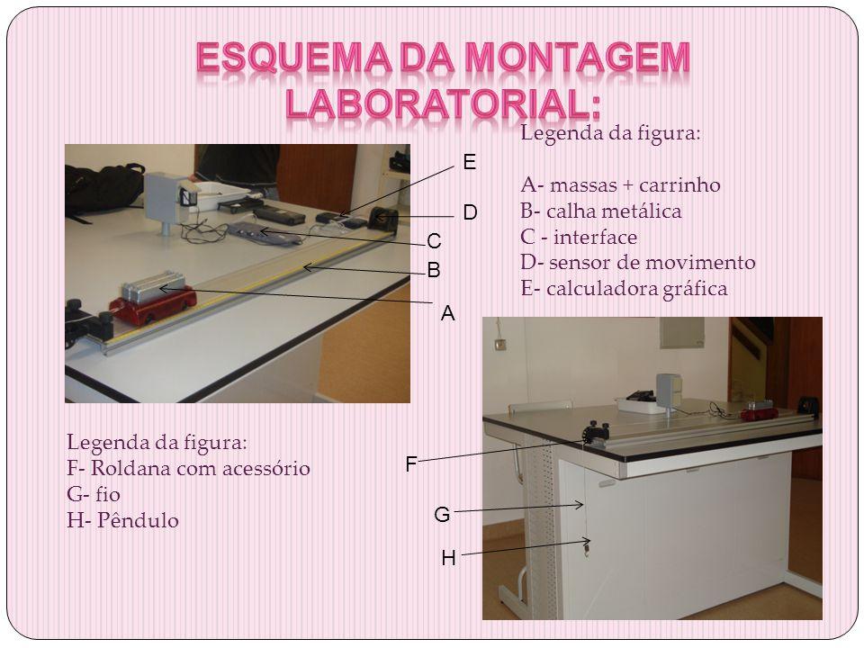 Legenda da figura: A- massas + carrinho B- calha metálica C - interface D- sensor de movimento E- calculadora gráfica E D C B A Legenda da figura: F-