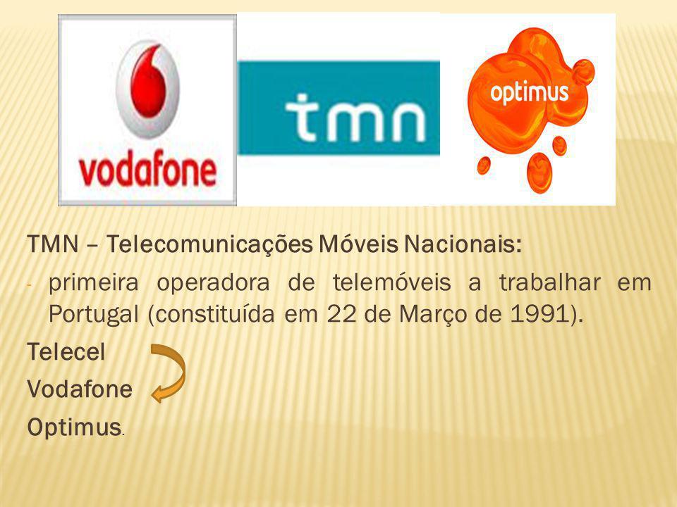 TMN – Telecomunicações Móveis Nacionais: - primeira operadora de telemóveis a trabalhar em Portugal (constituída em 22 de Março de 1991). Telecel Voda