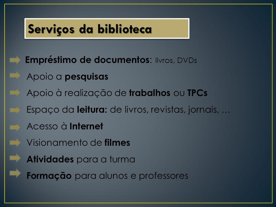 Serviços da biblioteca Empréstimo de documentos : livros, DVDs Apoio a pesquisas Apoio à realização de trabalhos ou TPCs Espaço da leitura: de livros,