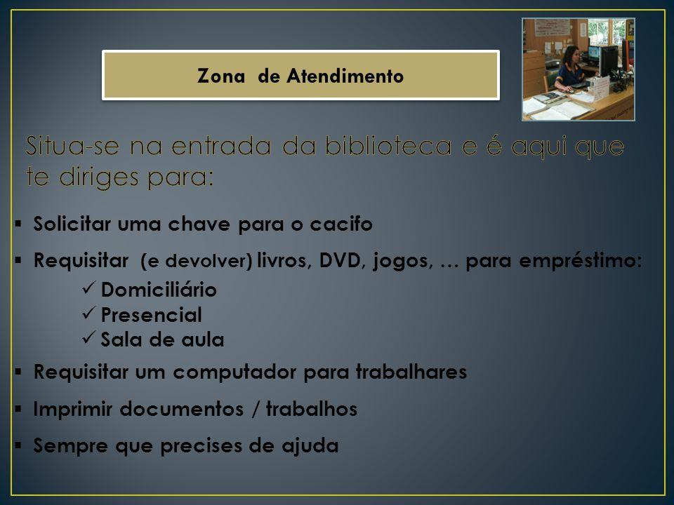 Zona de Atendimento Solicitar uma chave para o cacifo Requisitar (e devolver) livros, DVD, jogos, … para empréstimo: Domiciliário Presencial Sala de a