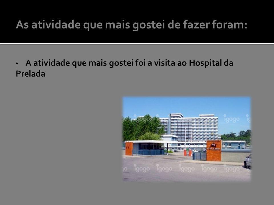 As atividade que mais gostei de fazer foram: A atividade que mais gostei foi a visita ao Hospital da Prelada